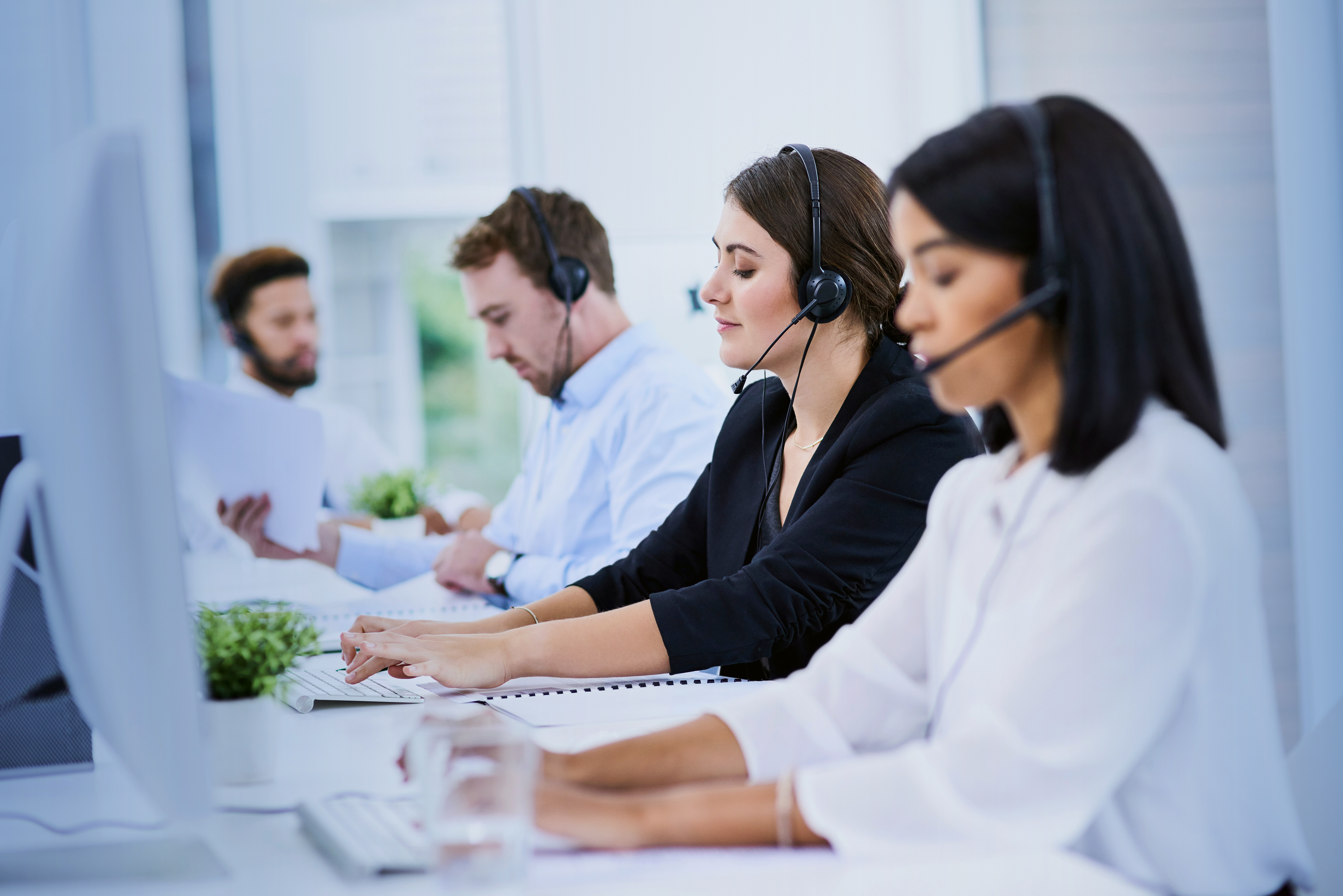 Technologies Support office workers answering calls